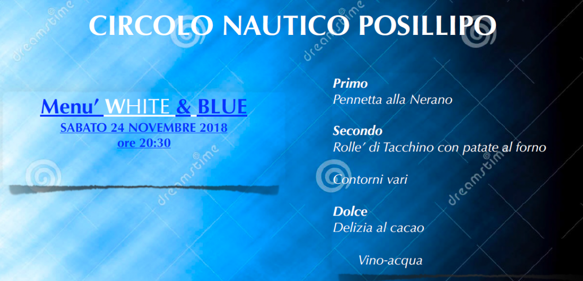Menù Withe & Blue