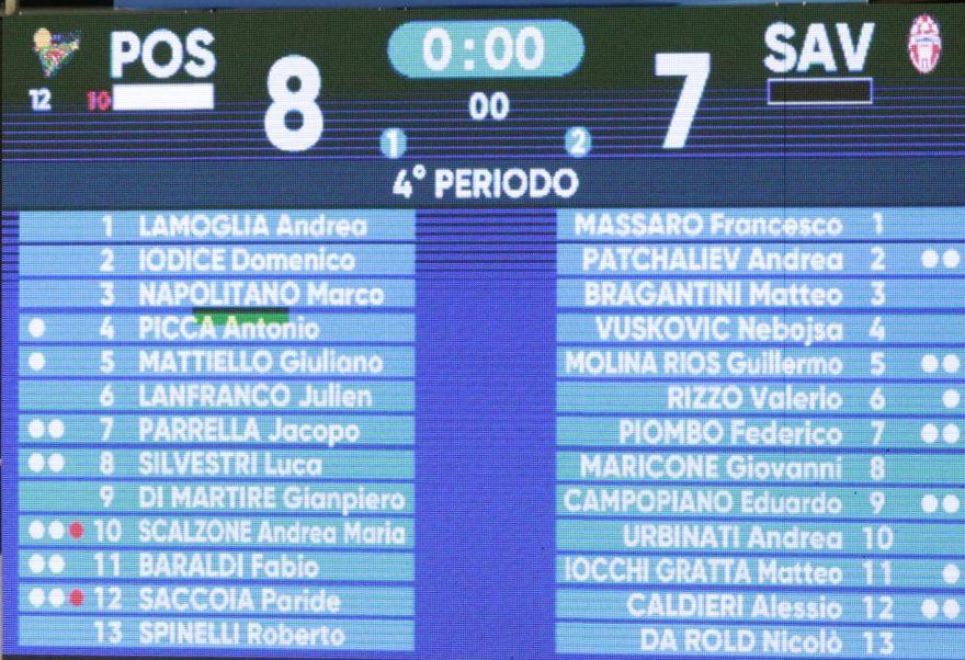 Tabellone Posillipo- Savona feb 2021