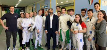 Il Presidente della Camera Roberto Fico in sala Scherma